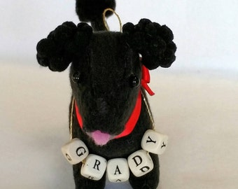 Personalized Poodle Puppy Ornament - MADE TO ORDER - Hand Stitched