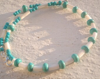 """Necklace """"Turquoise and mother of Pearl"""""""