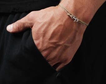 Taupe bracelet for men - Thin cord men's bracelet - Silver bracelet for men - Sterling silver jewelry for men - Men's hook bracelet - Dainty