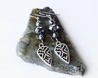silver Aztec earrings
