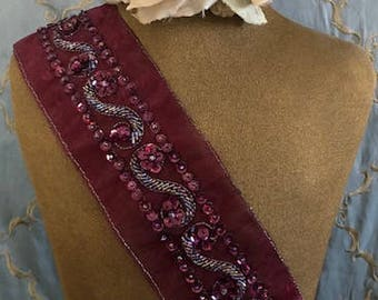 Burgundy Sequined Beaded Applique