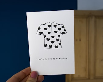 You're the King of my Mountain Greetings Card // Bike Card // Le Tour de France // Valentine's Day Card // Love Card // Strava