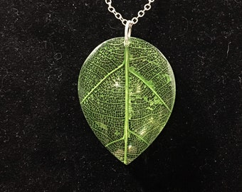 Green leaf, glass charm with silver necklace