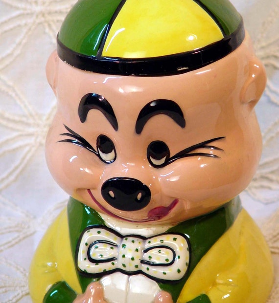 Vintage Pig Cookie Jar Yellow Green Retro Kitsch Kitchen