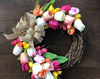 Spring Wreath Front Door, Spring Tulip Wreath, Wreath With Tulips, Wreaths for Front Door, Tulip Door Wreath, Mothers Day Gift