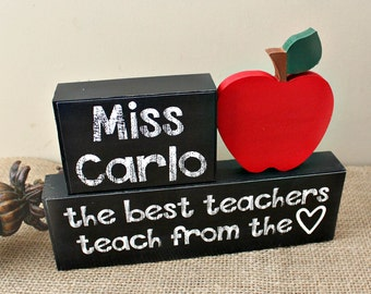 The best teachers teach from heart, Teacher Wood Blocks, Personalised Teacher Appreciation Christmas Gift, Birthday Gift, Teacher Name Sign