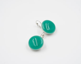 Snap Earrings with Turquoise Fused Glass Charm