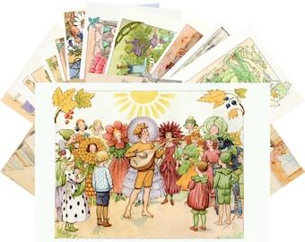 Postcards Set 24pcs * Family Life and Garden People by Elsa Beskow Vintage Kids Book Art CD3011