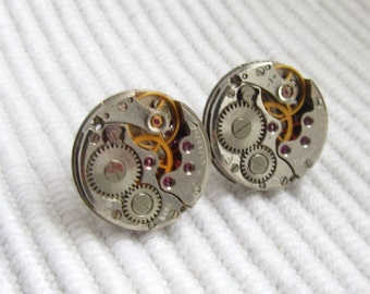 Steampunk Stud earrings small lightweight watch movements Unisex gift ideas Ear Studs Posts Gears Industrial Jewelry Mens gift for Him