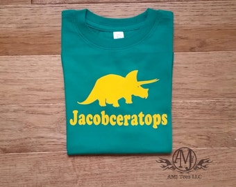 Kids dinosaur birthday shirt, triceratops dinosaur shirt for boys, dinosaur birthday party shirt