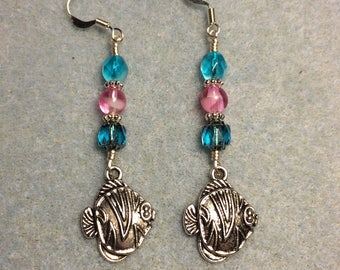 Silver angelfish charm earrings adorned with turquoise and bright pink Czech glass beads.