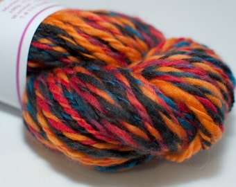 Merino Handspun Yarn in Shades of Blue, Yellow and Red 100g/170yds