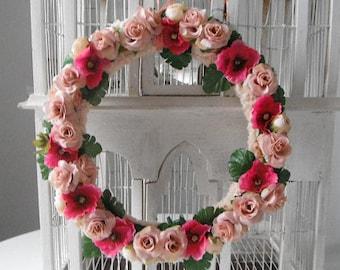 bague Couronne de fleurs porte décoration mariage décoration Bohème Couronne fleurs roses fleurs soie shabby chic décor bohème mariage bohème de rose