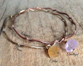 Gemstone Bangle, Amethyst Bracelet, Citrine Bracelet, Bangle Bracelet, Moroccan Bracelet, Bohemian Bracelet, Boho Luxe, Bohemian Jewelry