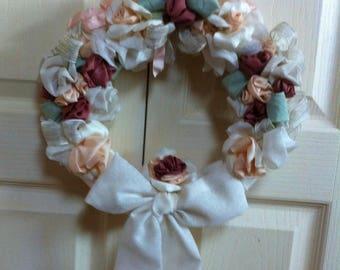 Fabric rose romantic shabby chic bow wreath