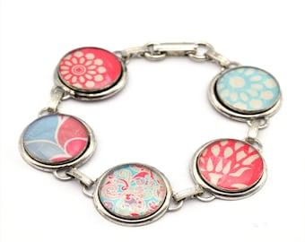 Floral Bracelet | Silver Blue Red Bracelet | Colorful Nature Inspired Resin Bracelet | Link Bracelet