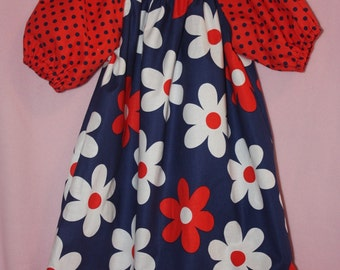 Peasent dress Birthday Bright Navy and Red Girl Peasant dress size  3m to 5