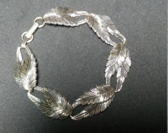 "Sterling Marked Silver Leaf Bracelet by Beau 7"""