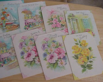 8 Vintage Quality Crest All Occasion Cards/Envelopes, Birthday, Thinking of You, Friendly, Get Well, Scrapbooking, Collage, Glitter