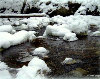 NEW...PHOTO Card, Snowy Creek, Snow, Creek, Winter, Water, Digital Photo Card, Blank Cards, Ellen Strope, Cabin Decor