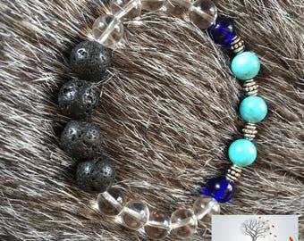 "Natural Stone Bracelet ""Amplified Love"" (Lava Rock, Turquoise Magnesite, Quartz)"