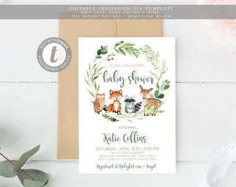 Woodland baby shower etsy woodland baby shower invitation boy gender neutral instant download woodland animals filmwisefo Images