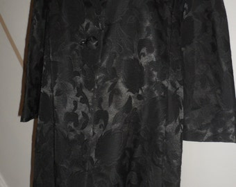 andanti brocade floral rose black on black swing style coat