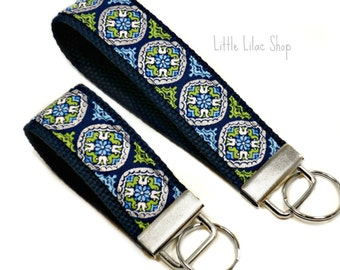 Key Fob Wristlet, Fabric Key Fob, Fabric Keychain, Metallic Key Fob, Key Holder, Key Chain Wristlet,  Fabric Key Holder, Navy Blue, Keychain