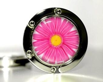Hot Pink, teacher christmas gifts, holiday gift for her, Christmas gift for friends, bag purse hook, Daisy flower, keychain purse hook