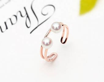 18K Rose gold with Akoya pearl ring