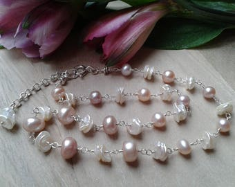 Pink button pearl and keshi pearl sterling silver bridal necklace