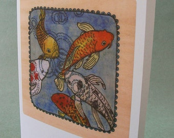 5 x 7 Notecard - A001 KOI // koi fish / koi painting / koi art / koi pond / fish art / fish card / koi card / illustration card / zen