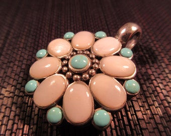 Retro Sterling Silver Turquoise M O P Brooch