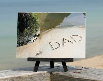 Beach Theme DAD Father's Day Beach Writing Sentiment on Small Black Wood Easel- Dad gift, beach photography, beach word, Dad birthday gift