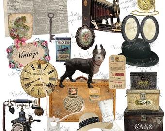 Digital Clip-art, Vintage Scrapbook Elements, Vintage png clip art, Vintage Camera, Clock, Hat, Luggage, Baggage Tag Clip-art. No. E18.VA