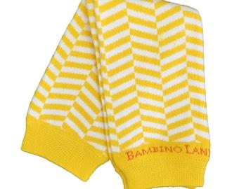 Organic Baby Leg Warmers Herringbone Yellow White