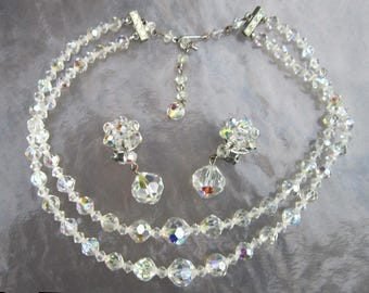Vintage AB crystal beads necklace and cluster clip with dangles earrings demi parure set - estate jewelry