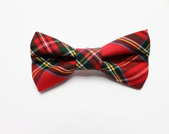 Red and Green Plaid Removable Dog Bow Tie | Plaid Removable Dog Collar Bow Tie | Dog Bow Tie | Holiday Dog Bow Tie