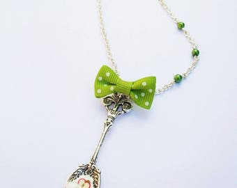 Necklace long spoon, whipped cream, Apple, bow