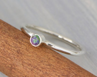 Mystic Topaz Ring, Birthstone Ring, Rainbow Gemstone Ring, Rainbow Topaz, Mystic Topaz Jewelry, Birthstone Jewelry, Gift For Her