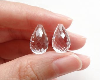 Sparkly Rock Crystal Quartz Faceted Half Top Drilled Teardrops 9x14 mm One Pair J6548