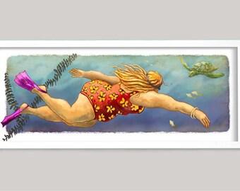 Chubby Swimmer, Tourist and Turtle, Fat Lady Art, Chubby Lady Art, Powder Room Art, Humorous Art, Beach House Art, Tropical art,