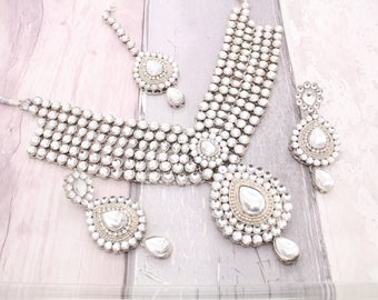Silver Indian Bollywood Necklace Set with Earrings, Tikka Headpiece & Jhoomer Bridal Wedding