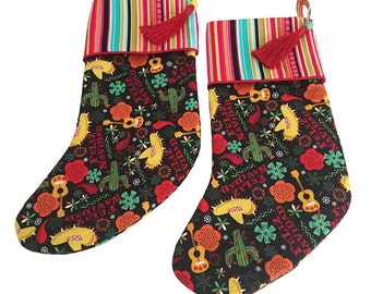 Christmas Stockings, Colorful Stockings, Whimsical Stockings, Felize Navidad
