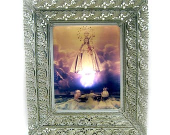 Madonna Light Fixture, Framed Light Up Madonna, Hanging Madonna Lamp, Madonna Wall Lamp, 3D Madonna Light Fixture, Madonna Del Lume Light