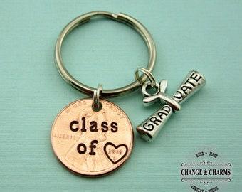 2018 Keychain, Hand Stamped, Graduation Keychain, Graduation Gift, Gift for Her, Gift for Him, Penny Keychain, Class of 2018 Keychain,Unique