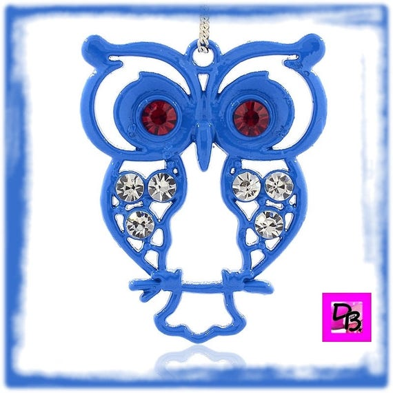 Pendentif grand hibou Bleu [Red and blue]