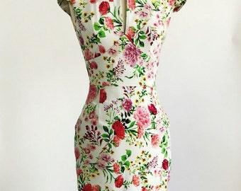 Floral dress, spring flower dress, summer dress, vintage style dress, mid-length dress, cotton dress, 50s dress, garden party dress, SS16