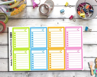089 - (8- Check List Full Boxes) Planner Sticker, Kiss Cut Stickers