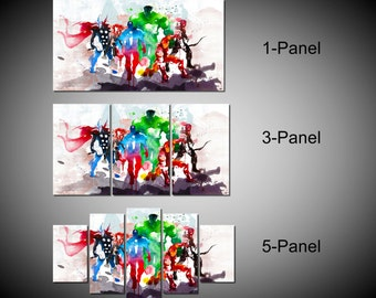 Framed Abstract Watercolor Marvel Avengers Super Hero Wall Canvas Art - Ready to Hang